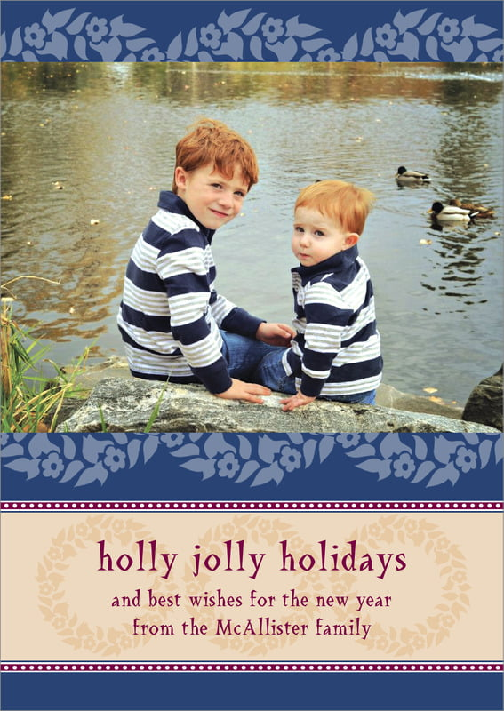 holiday cards - deep blue - garland (set of 10)