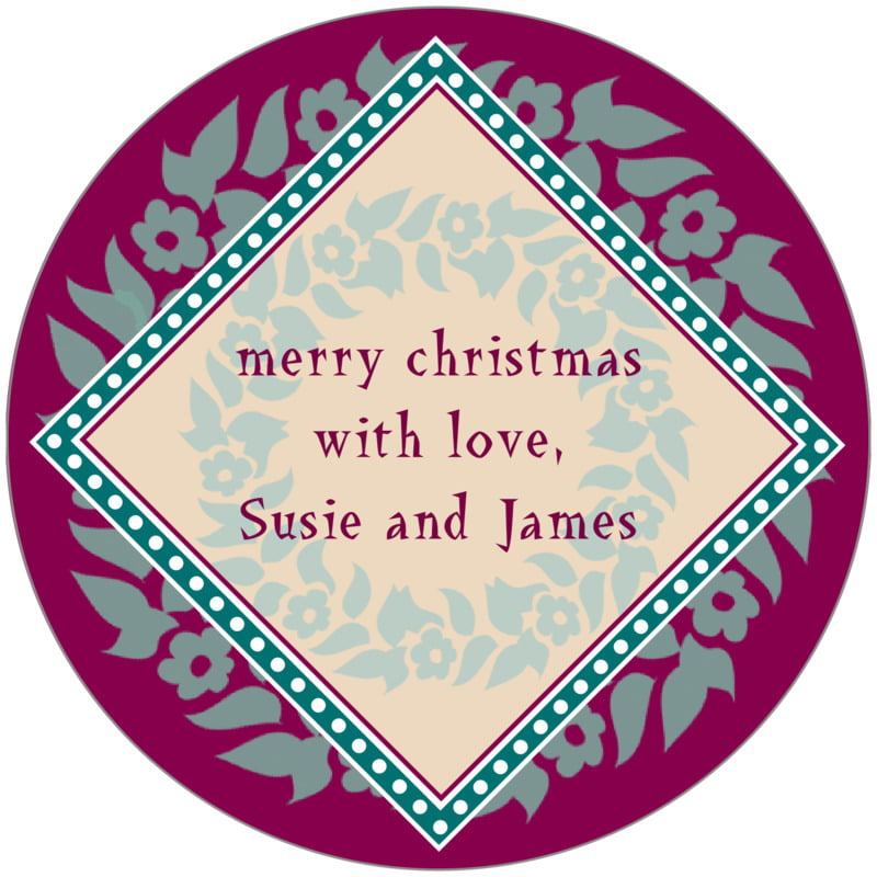 circle food/craft labels - burgundy & green - garland (set of 12)