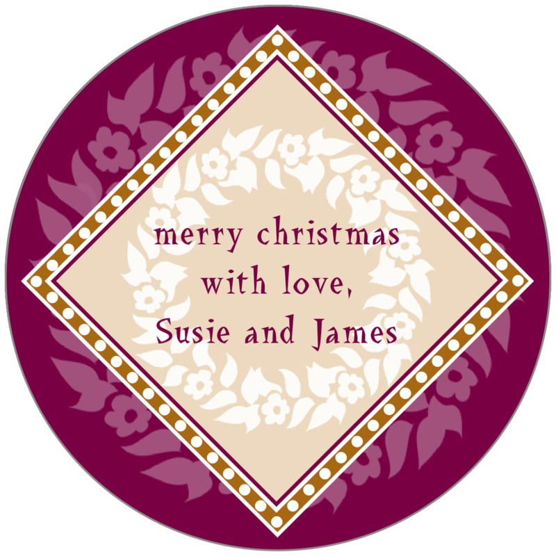 circle food/craft labels - burgundy & gold - garland (set of 20)