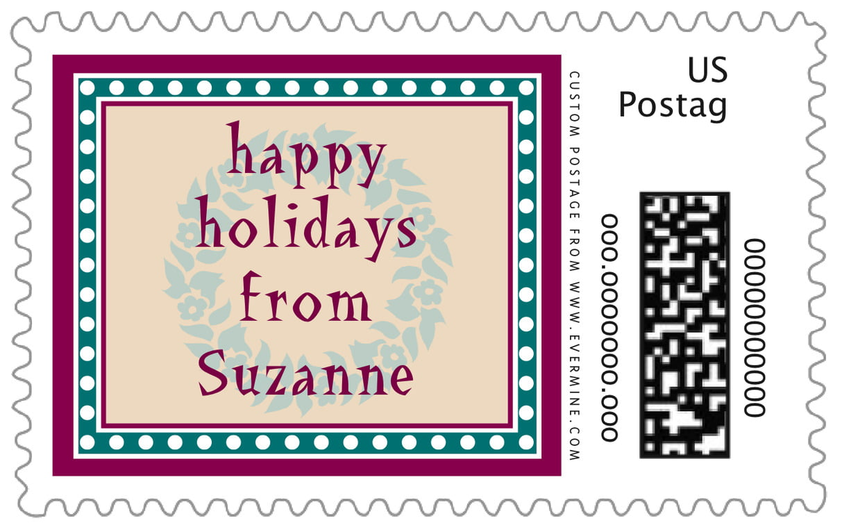 custom large postage stamps - burgundy & green - garland (set of 20)