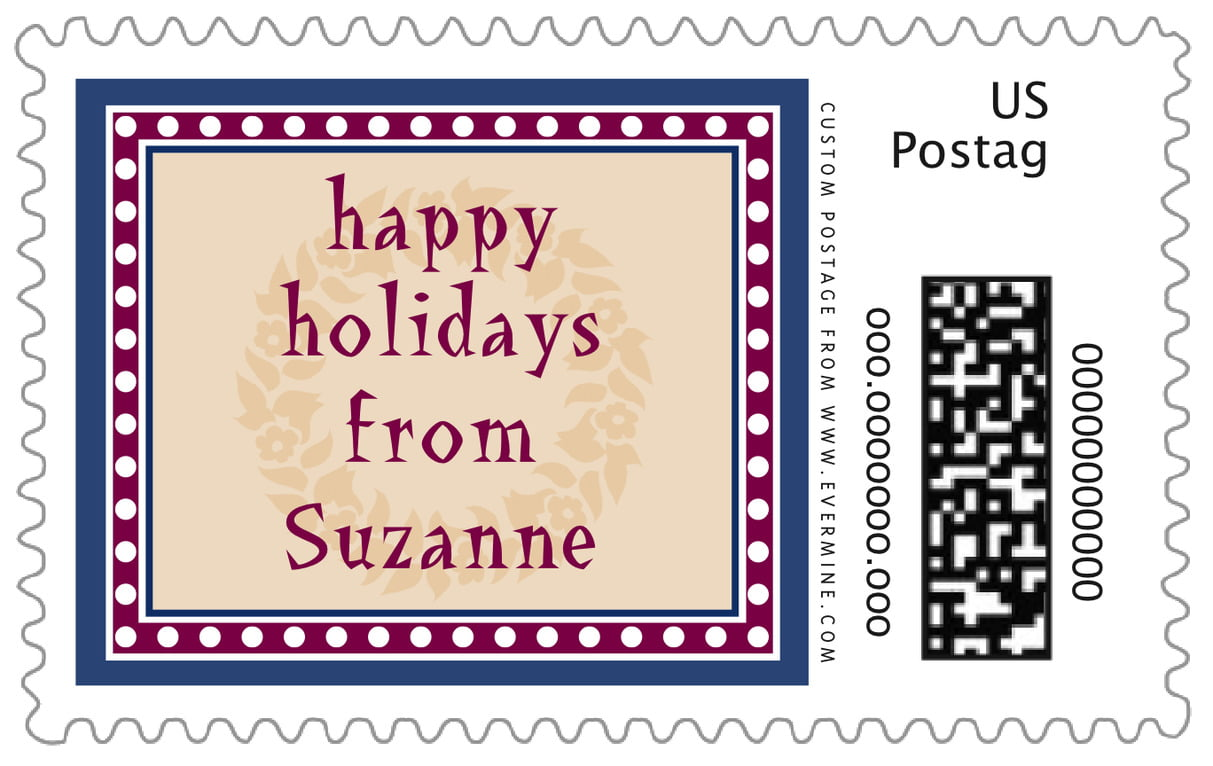 custom large postage stamps - deep blue - garland (set of 20)