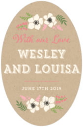 Graceful Floral tall oval labels