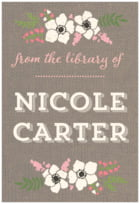 Graceful Floral Large Bookplate In Burlap