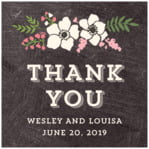 Graceful Floral Square Label In Chalkboard