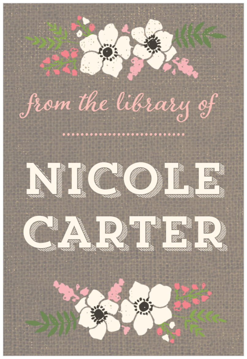 rectangular bookplates - burlap - graceful floral (set of 15)