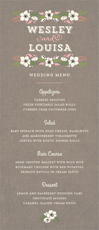 custom menus - burlap - graceful floral (set of 10)