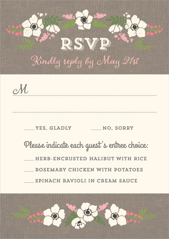 custom tall response cards - burlap - graceful floral (set of 10)
