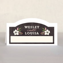 Graceful Floral Place Card In Chalkboard