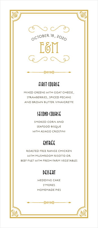 custom menus - pale gold - gatsby (set of 10)