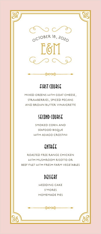 custom menus - pale pink - gatsby (set of 10)