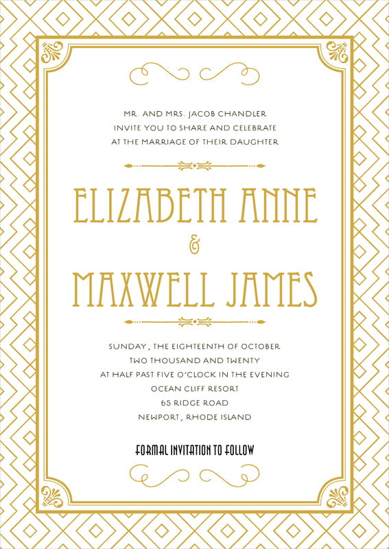 custom invitations - pale gold - gatsby (set of 10)