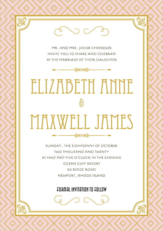 custom invitations - pale pink - gatsby (set of 10)