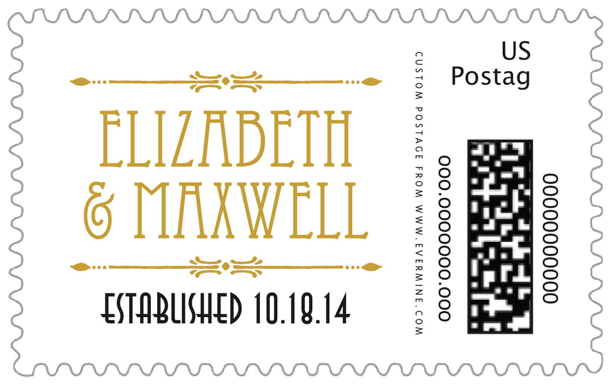 custom large postage stamps - pale gold - gatsby (set of 20)