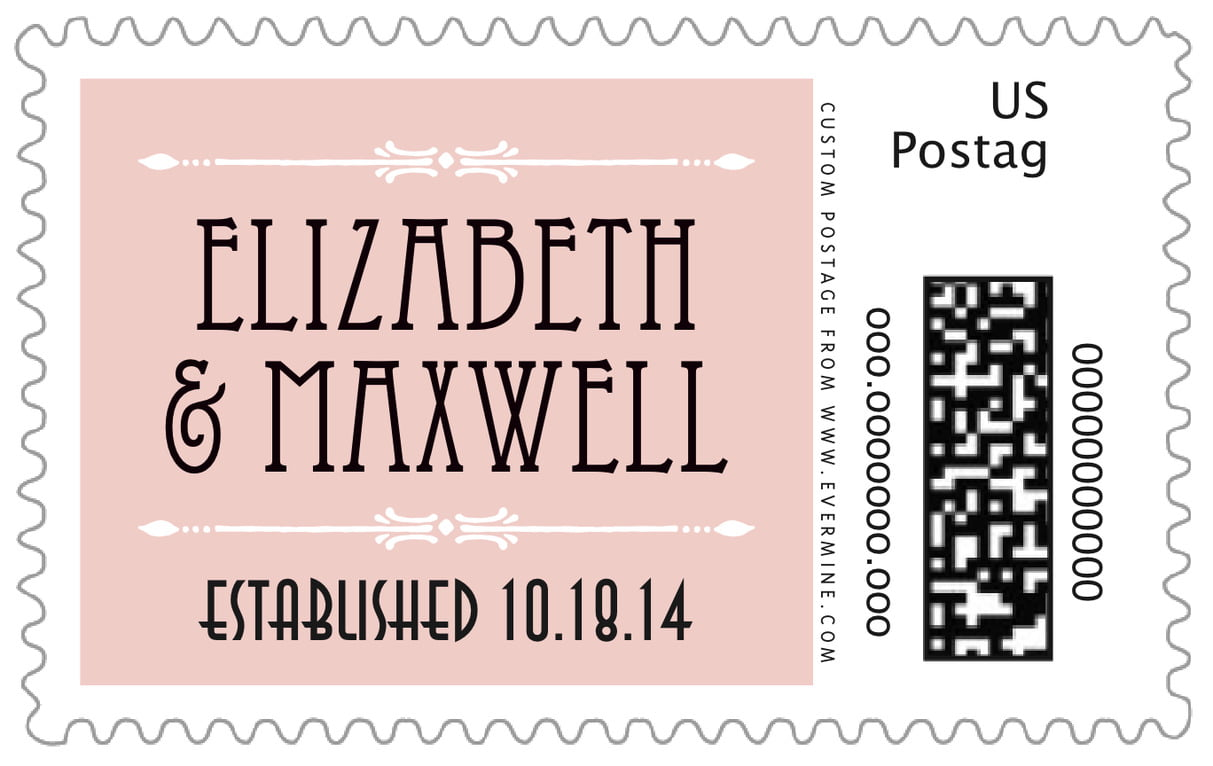 custom large postage stamps - pale pink - gatsby (set of 20)