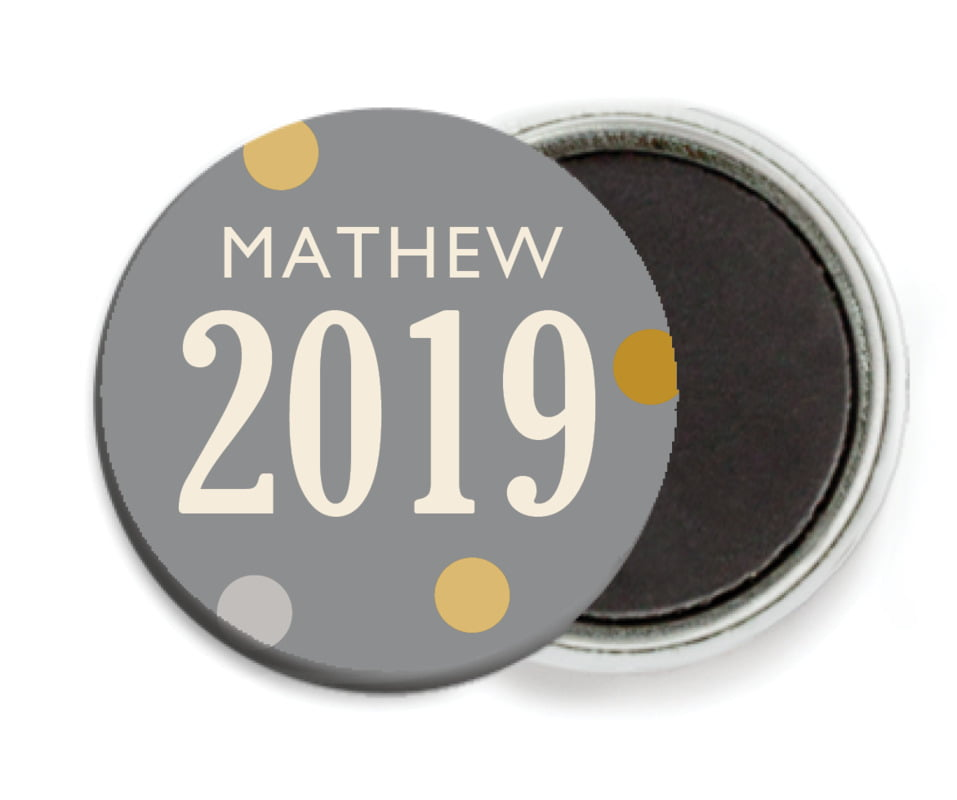custom button magnets - charcoal - golden honor (set of 6)