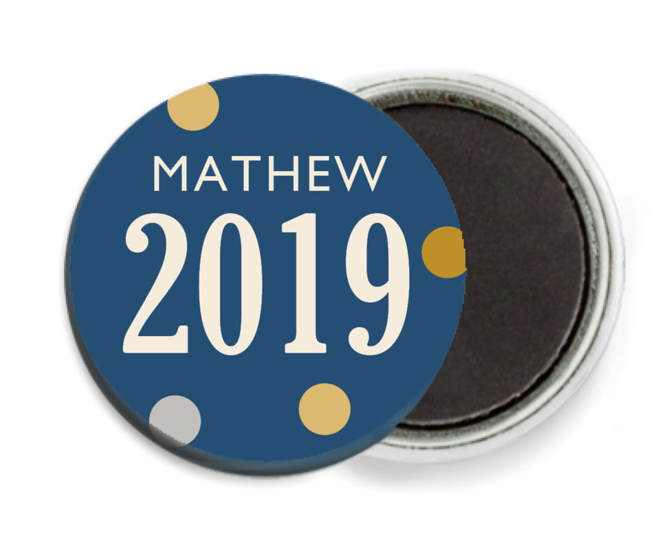 custom button magnets - navy - golden honor (set of 6)