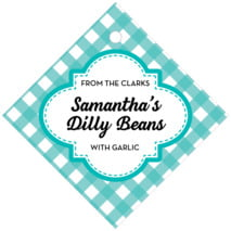 Gingham Diamond Hang Tag In Turquoise