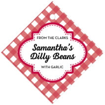 Gingham Diamond Hang Tag In Deep Red