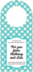 Gingham Bottle Hanger In Turquoise