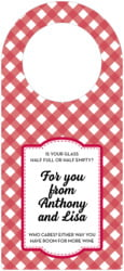Gingham bottle hangers