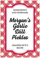 Gingham Tall Rectangle Label In Deep Red