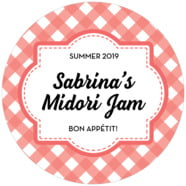 Gingham Large Circle Label In Deep Coral