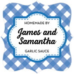 Gingham fancy square labels