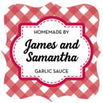 Gingham Fancy Square Label In Deep Red