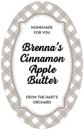 Gingham tall oval labels