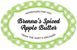 Gingham large oval labels