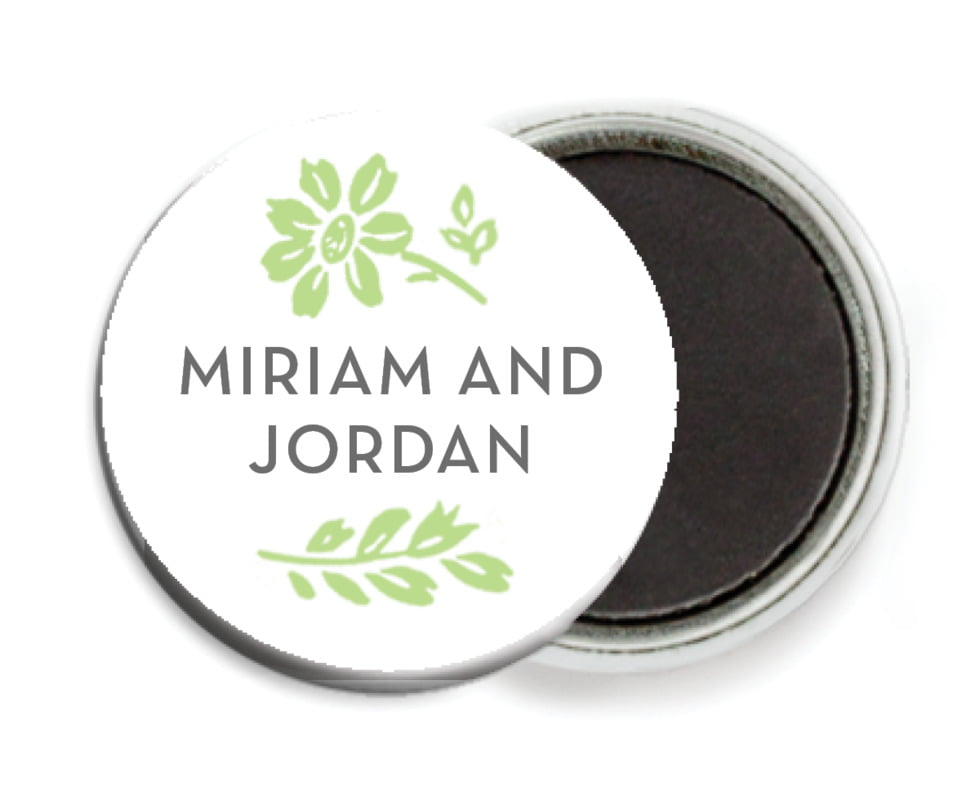 custom button magnets - lime - garden romance (set of 6)