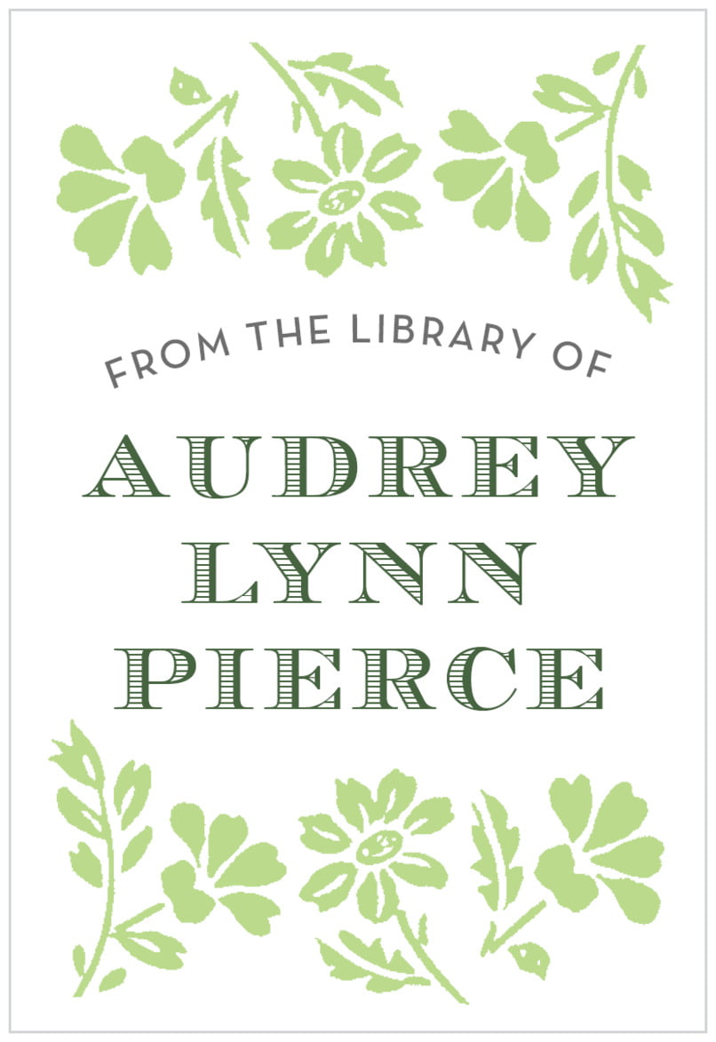 rectangular bookplates - lime - garden romance (set of 15)