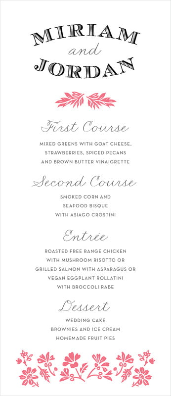 custom menus - deep coral - garden romance (set of 10)