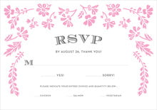 custom response cards - pink - garden romance (set of 10)