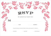 custom response cards - deep coral - garden romance (set of 10)
