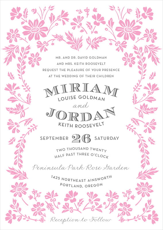 custom invitations - pink - garden romance (set of 10)