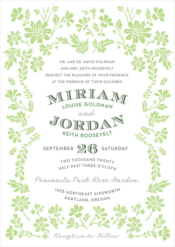 custom invitations - lime - garden romance (set of 10)