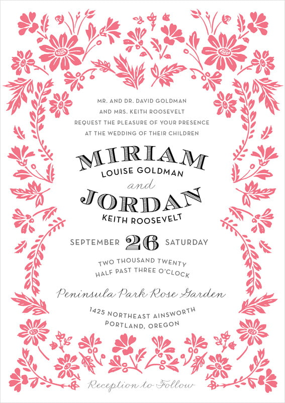 custom invitations - deep coral - garden romance (set of 10)