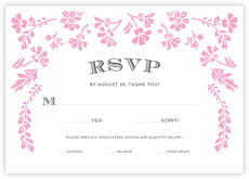 Garden Romance Response Card In Pink