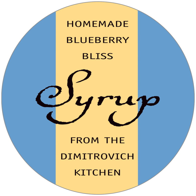 circle food/craft labels - medium blue & gold - gianni (set of 12)