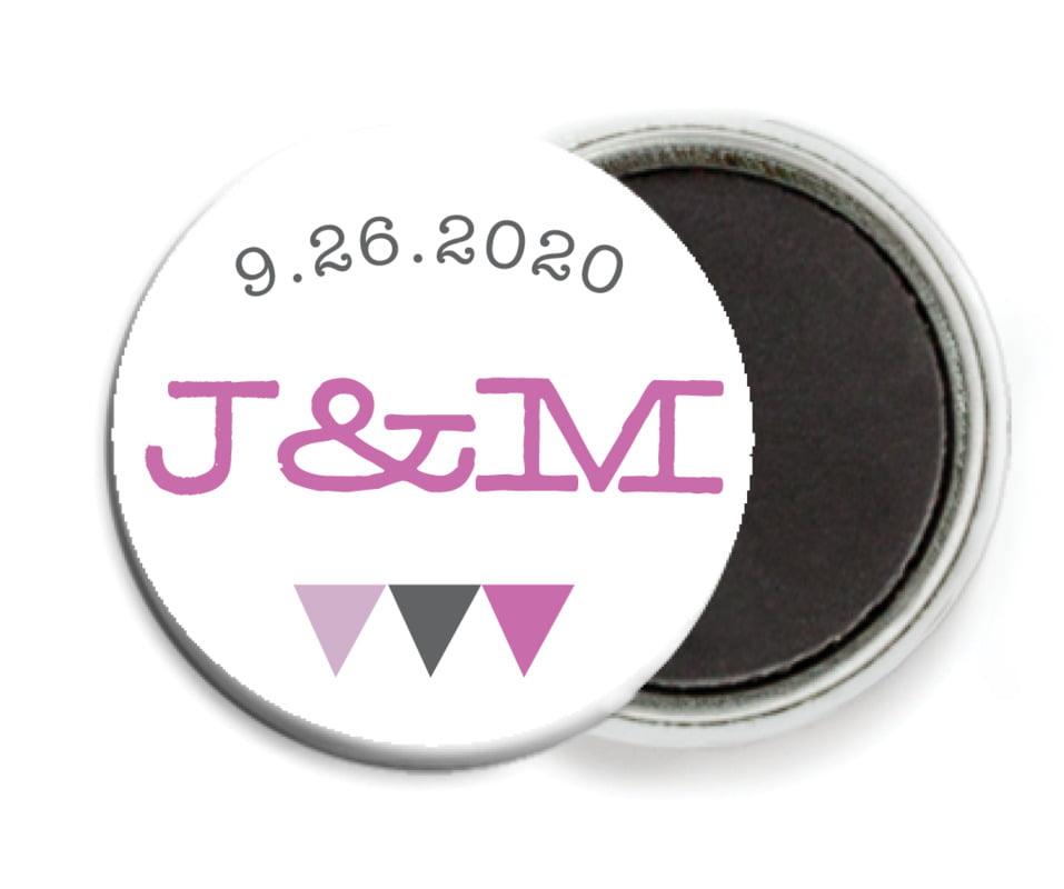 custom button magnets - radiant orchid - modern geometric (set of 6)
