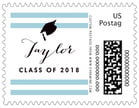 Striped Scholar Small Postage Stamp In Blue Mist