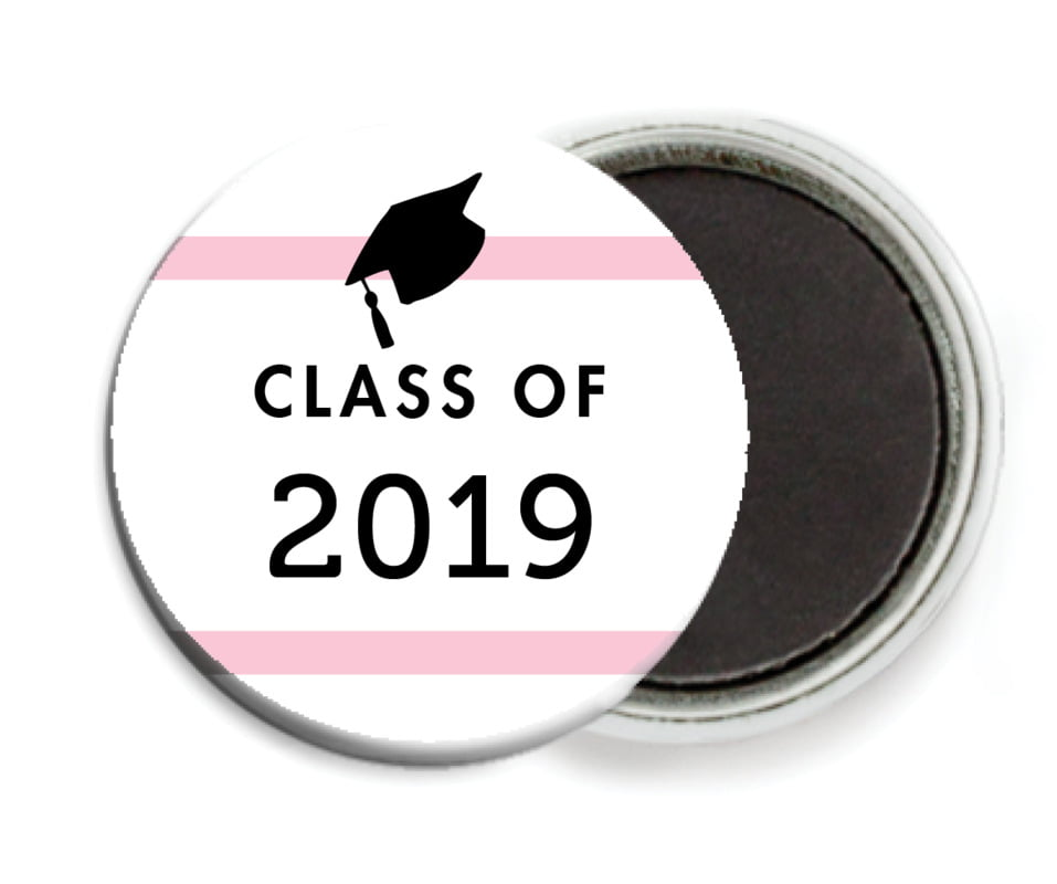 custom button magnets - pink - striped scholar (set of 6)