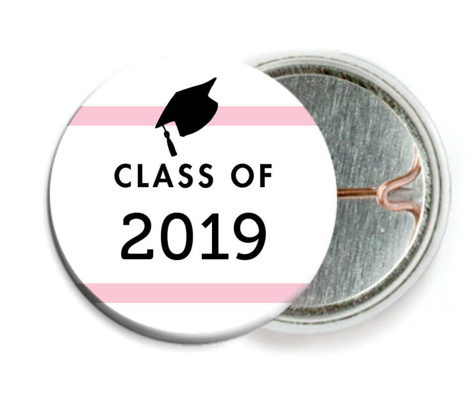 custom pin back buttons - pink - striped scholar (set of 6)