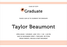 baby shower invitations - peach - striped scholar (set of 10)