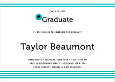 baby shower invitations - turquoise - striped scholar (set of 10)