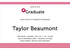 baby shower invitations - deep red - striped scholar (set of 10)