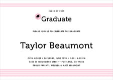 baby shower invitations - pink - striped scholar (set of 10)