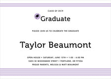 baby shower invitations - lilac - striped scholar (set of 10)