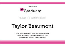 baby shower invitations - bright pink - striped scholar (set of 10)